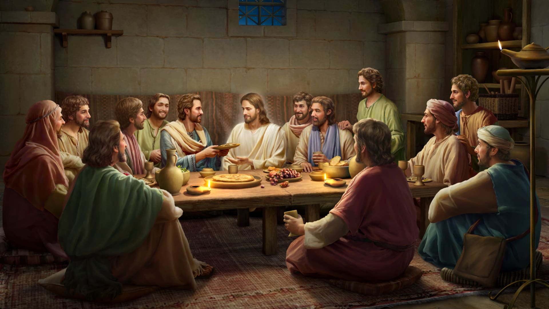 الرب يسوع يأكل خبزًا ويشرح الكتب بعد قيامته