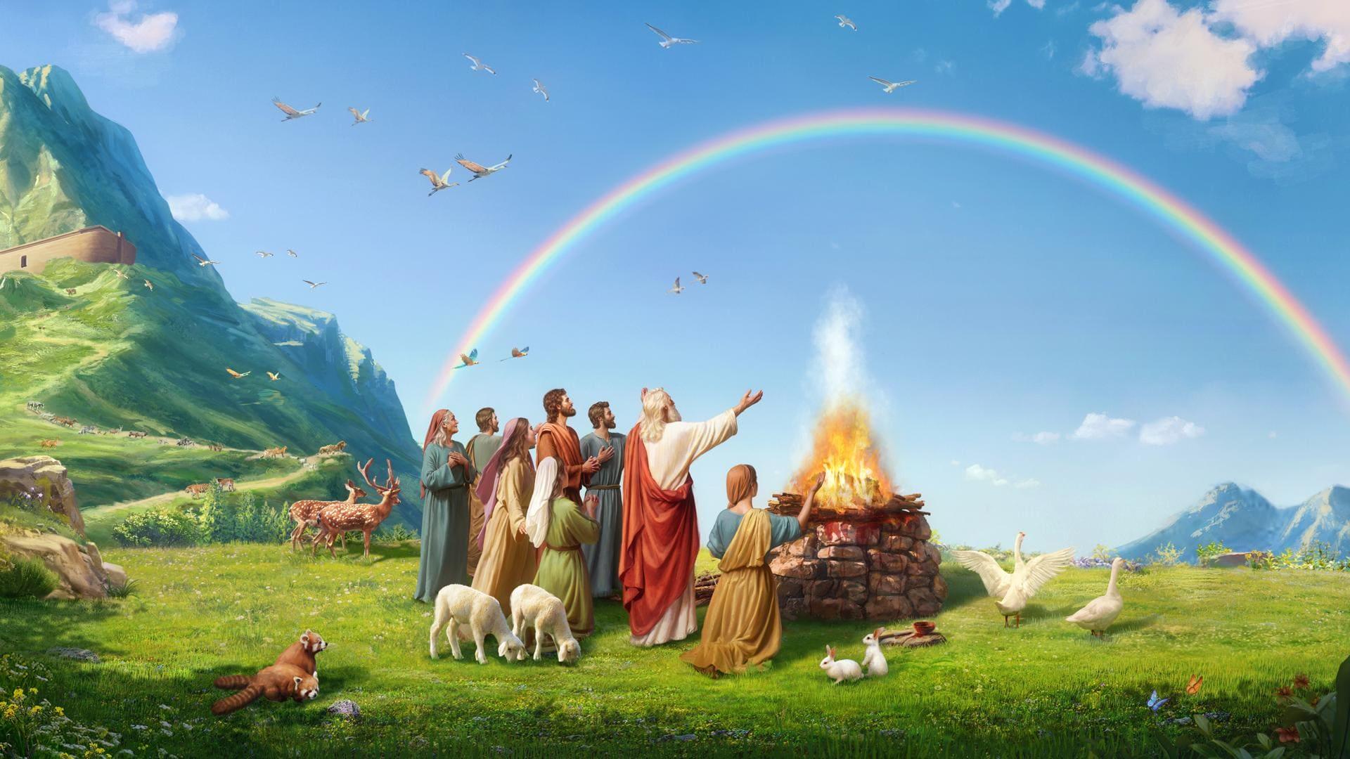 قوس قزح في الكتاب المقدس | الله يجعل قوس قزح رمزًا لعهده مع الإنسان (أ)